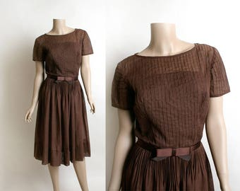 Vintage 1950s Dress - Sheer Cotton Chocolate Brown Pintuck Pleated Overlay Dress - 50s Fashion - Satin Bow Belt - L'Aiglon - Small Medium