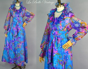 Psychedelic Maxi Skirt Blouse Set L ~ Vintage 1970s Bishop Sleeves Long Dress ~ Shelly's Tall Girl
