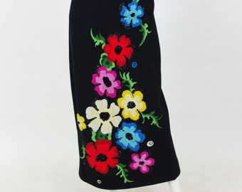 Early 1970's Vintage Incredible 3D Embroidered Sequin Floral Black Wool Maxi Skirt Sz M