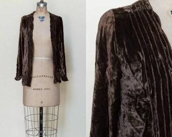 1920s Velvet Jacket --- Antique Brown Silk Jacket