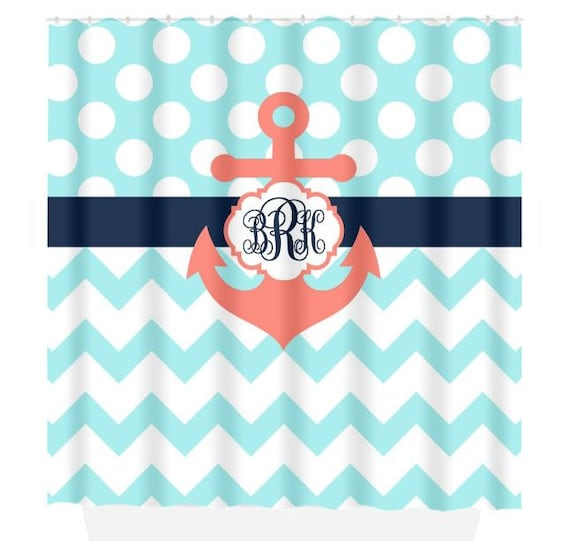 ANCHOR SHOWER CURTAIN Navy Blue Coral Aqua Custom Monogram