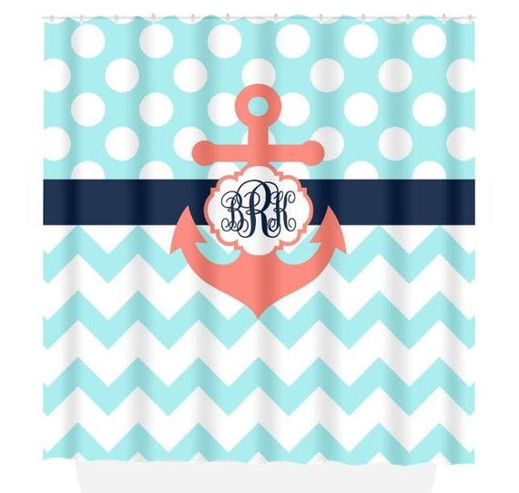 navy coral shower curtain. Like this item  ANCHOR SHOWER CURTAIN Navy Blue Coral Aqua Custom Monogram