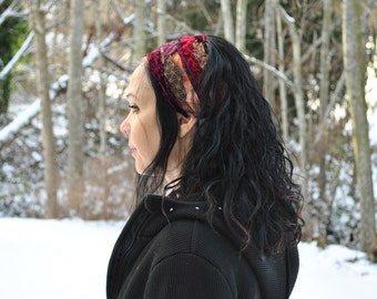 Headband, Dreadband, Sacred Geometry Dread Wrap with Red and Brown fabric and braided ties