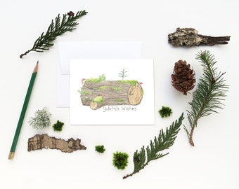 Yule Log Christmas Card / Christmas Card / Holiday Card / Forest Card / Nurse Log Card / Watercolor Christmas Card / Forest Watercolor Card