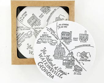 Letterpress Watkinsville, Georgia Map Coasters
