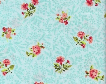 Garden Gate-Spaced Floral Teal -Sew  Gifts- Teal- P&B Textiles- Cotton Fabric