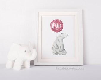 Bear Nursery Art, Animal Nursery Print, Kids Wall Art, Printable Nursery Decor, Personalized girl Room Decor, Bear balloon, pink baby, kids