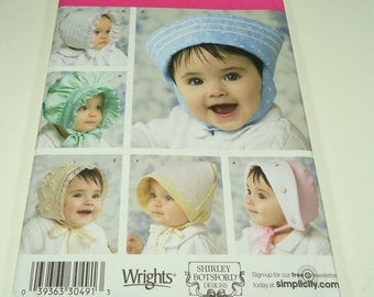 Simplicity Babies' And Toddlers' Hats In Four Sizes XS, S, M, L