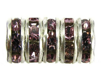 Silver, Amethyst Rhinestone Rondelle, Extra Large Hole, 8 mm, 6 Pc. C420
