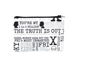 X Files Zipper Pouch / Mulder and Scully Bag / The Truth is Out There Pencil Pouch