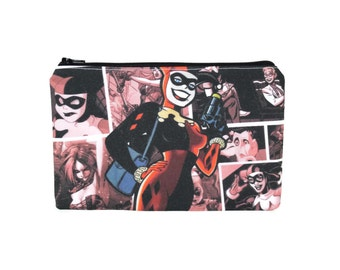 ONLY ONE Harley Quinn Pencil Pouch / Harley Quinn and Joker Bag / DC Comics Large Pouch