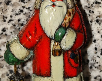 1981 Tin Santa Claus Ornament, Hallmark Greeting Cards Inc. German Tin Santa, Saint Nicholas, Christmas Tree Ornament, Rare Christmas Decor