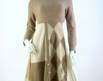 Cashmere Sweater Dress/Reconstructed Dress/Altered Clothing/ Size Med/Argyle Beige and Tan/Brenda Abdullah