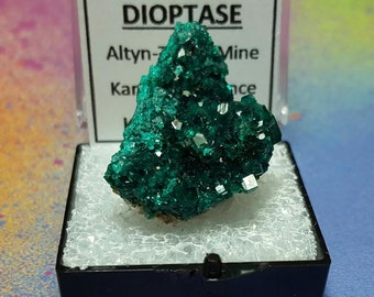 Sale DIOPTASE Top Quality Piece Bright Teal Blue Green Crystal Mineral Specimen In Perky Box From Kazakhstan