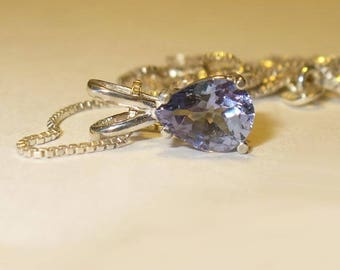 Tanzanite Pendant Necklace in Sterling Silver - Pear-Cut Genuine Natural Gemstone