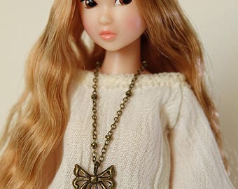 Lotus necklace  (square filigree) - Handmade jewerly for Momoko and 1/6 fashion dolls