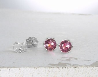 Pink Tourmaline Earrings Silver Stud Earrings October Birthstone Jewelry Pink Stud Earrings Silver Tourmaline Earrings Holiday Gift For Her