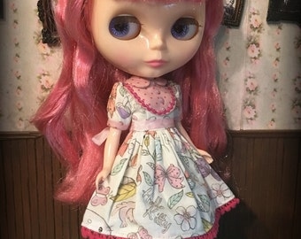 Blythe Dress, Hello Kitty Floral with Pink Polka dots and Ric Rac