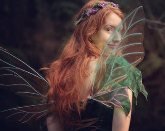 Fairy Wings, Cellophane, Iridescent, Adult size, Wisp design