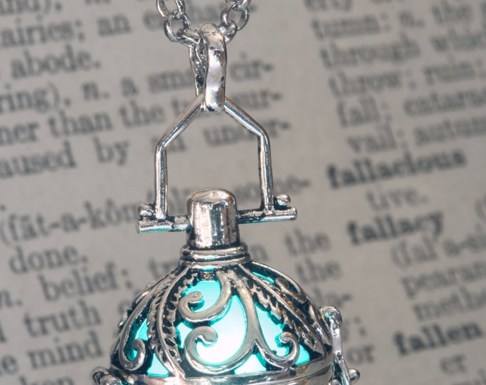 Glowing Pendant Glowing Necklace Ornate Fairy Locket with Teal glowing Orb Magical Valentine Gift for her - LED Jewel