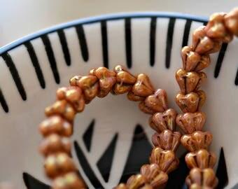 Little Tinkerbell - Premium Czech Glass Beads, Opaque Rose, Topaz Gold, Baby Bell Flowers 4x6mm - Pc 50