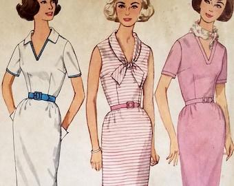 Vintage 1960s Sheath Dress Pattern Simplicity 4907 Bust 34 V Neckline Shawl Collar