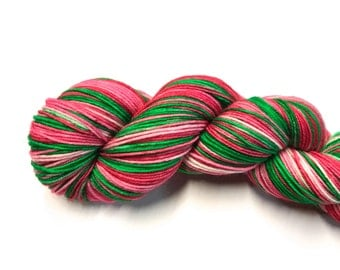 Merry and Bright--hand dyed sock yarn, merino and nylon, (463yds/100gm)