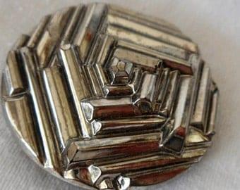 Large VINTAGE Geometric Silver Luster Black Glass BUTTON