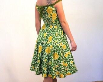 ESTEVEZ for Grenelle 50s Dress S, 50s Party Dress, Rare Estevez Dress, Yellow Roses Dress, Fit N Flare Dress, Off the Shoulder Floral Dress
