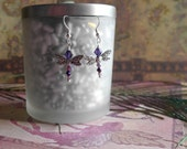 dragonfly earrrings - purple beaded dragonfly earrings, swarovski crystal wing earrings