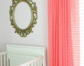 Light Coral Ruffle Curtain - 84 Inch Curtain - 96 Inch Curtain - Extra Wide Curtain Panel - Girl Nursery Curtain - Shabby Curtain Sheer