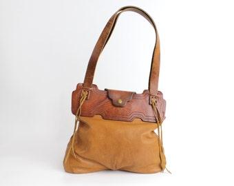 Vintage 1970s Rustic Leather Tote Bag | Western Leather Handbag | Brown Leather Purse
