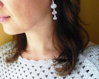 Long Moonstone Earrings in Sterling Silver. Triple Drop Oval Rainbow Moonstone Silver Drop Earrings. Moonstone Earrings. Wedding Earrings.