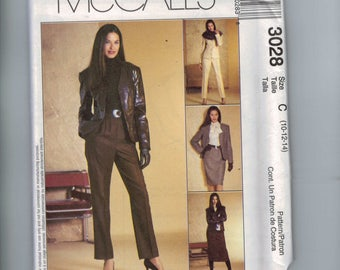 Misses Sewing Pattern McCalls 3028 Suit Pants Jacket Synthetic Leather Suede Slim Pencil Skirt Misses and Petite Size 10 12 14 UNCUT
