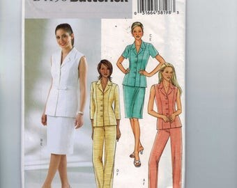 1990s Vintage Misses Sewing Pattern Butterick B4196 4196 Misses Fitted Two Piece Dress Outfit Shirt Jacket Pants Skirt Size 12 14 16 UNCUT