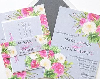 Flower Wedding Invitations - Spring Wedding Invitation - Garden Wedding Invitation - Sample