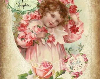 A vintage Valentine Large digital download ECS buy 3 get one free Pink ROSES romantic single image