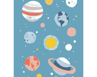 Planets postcard - Eco friendly