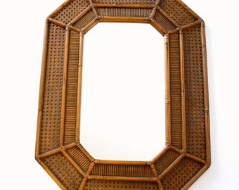 Large Octagonal Faux Bamboo & Cane Wall Mirror with Brown Faux Bois Finish by Burwood 1969