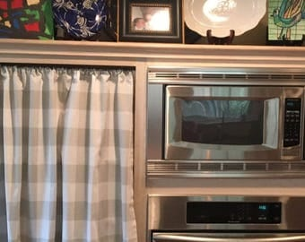 Grey Gingham Buffalo Check Kitchen Cafe Curtains - 2 panels/ 1 pair - Custom sizes and matching valance available