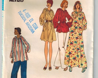 Vintage 70s Misses Hooded Caftan Dress or Top and Pants Sewing Pattern Kenzo Designer Sz Small 8-10 Loose Fit Pullover Dress Raglan Sleeves