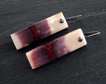 Mookite Jasper Earrings: Blackened Sterling Silver, natural gemstones, red and purple, tan, statement earrings, long bar, sterling silver