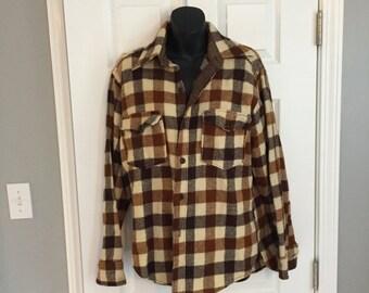 Vintage Woolrich flannel plaid button-up shirt jacket
