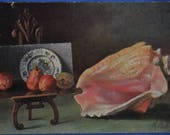 Conch Seashell and Painting Still Life Artist Signed Billing Antique 1907 Postcard