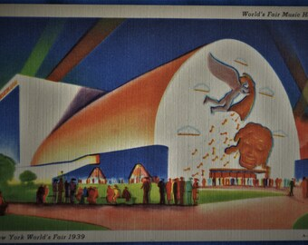 Postcard Music Hall New York World's Fair 1939 Postmark Linen