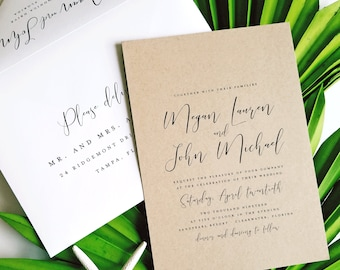 NEW Megan Calligraphy Script Recycled Kraft Wedding Invitation Sample