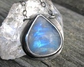 Rainbow Moonstone Necklace - Sterling Silver Rainbow Moonstone pendant - teardrop rainbow moonstone necklace with mandala