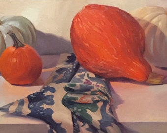 "Art painting still life pumpkins ""Fall Four"" orignial oil on canvas by Sarah Sedwick"