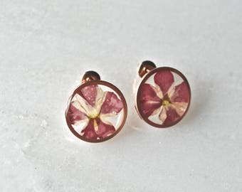 Red Verbena Stud Earrings Pressed Flower Jewelry Botanical Jewelry Bridal Jewelry