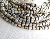 matte striped white seed bead, small ethnic glass bead,  irregular barrel tube spacer, New Indo-pacific 3 to 6mm (22 inch strand) 6CB10-2